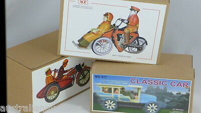 3 Classic Wind-Up Repro Toys  Lady With Cat On Trike Motorbike And Vintage Car