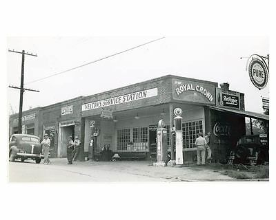 1941 Pure Oil Gas Station Photo Rutherfordton NC Gas Globe Coca Cola ch2539