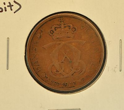 1913 Danish West Indies 1 Cent Xf Km #83