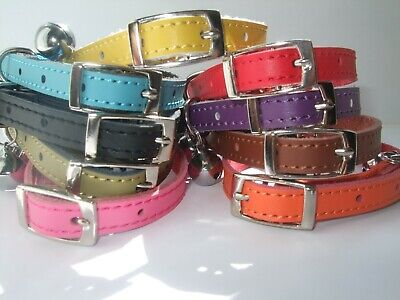 Cat Collar  Real Leather safety elastic metal buckle Free Post 6 colours bell