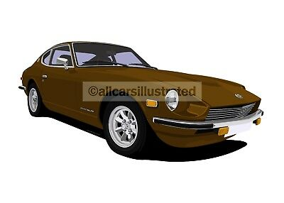 Datsun 240Z Car Art Print Picture (Size A3). Personalise It!