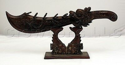 "Decorative Ornate Carved Wooden Dragon Sword with Stand - 23.5"" inches Long"