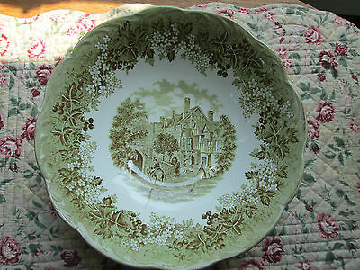 Romantic England Serving Bowl West Gate Leicester Hospital Green  8 1/2 inches