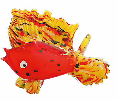 "10"" Large Hand Blown Glass Art Style Fish Red Yellow Figurine Sculpture"