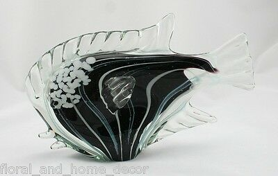 "New 10"" Large Hand Blown Art Style Glass Fish Figurine Black White"