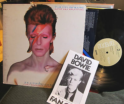David Bowie Aladdin Sane w/lyric inner lsp-4852 gatefold LP '73 w/fanclub book!!