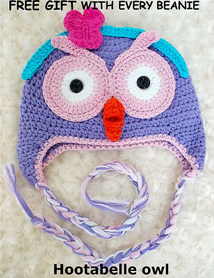 Hootabelle Handmade Owl Beanie With FREE GIFT Girl Boy Baby Toddler Kids Photo