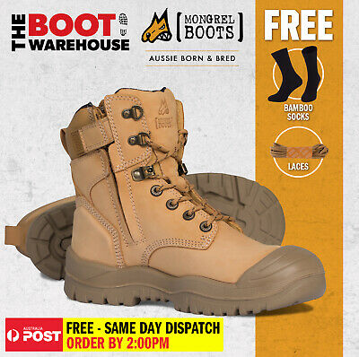 Mongrel 561050 Work Boots. Safety Steel Toe Cap.  Wheat, High Ankle, ZipSider.