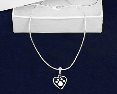 Lot of 12 Paw Print Heart Necklaces