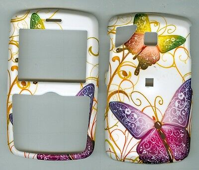 White Purple Buterfly HARD COVER CASE PANTECH REVEAL C790 AT&T