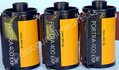 3 x Kodak  Portra 400 35mm 36 exposure Cheap Colour Print Film by 1st CLASS POST