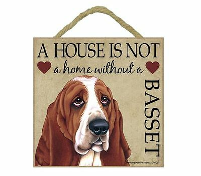 "House is Not Home Basset Hound Sign Plaque 5""x5"" easel"