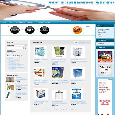 DIABETES STORE - Turnkey Affiliate Website Business For Sale, Free Domain Name