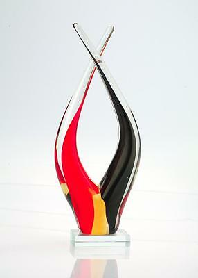 """Large 14"""" Hand Blown Murano Art Style Glass Fused Sculpture Abstract Red Black"""