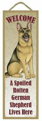 """Spoiled Rotten German Shepherd Lives Here Sign 5"""" x 15"""" Plaque Gift pet dog"""