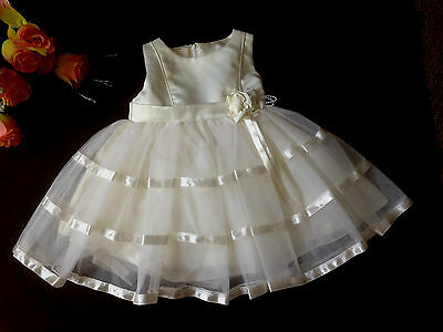 Baby White/Ivory Satin Flower Girl Dress Christening Wedding Bridesmaid Dress