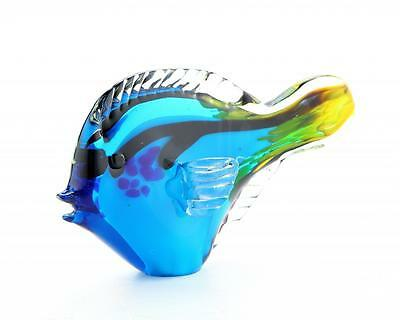 """New 10"""" Hand Blown Art Glass Tang Dory Fish Figurine Statue Blue Yellow Clear"""