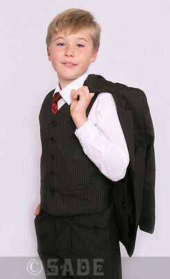 Young Boys Suit Black Pinstripe 5 Piece Jacket Lined & Edged 1-13 Years Jasper