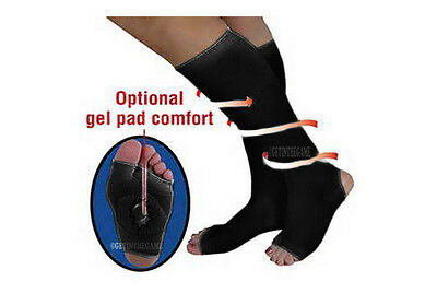 Support Stockings Compression Socks Stirrup Breathable Gel Arch Knee High Black