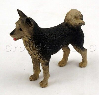 "1997 Decorative Collectible Resin Black Brown Akita Dog Figurine - 3.5"" Tall"