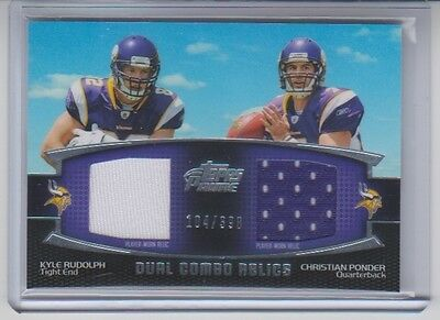 2011 Topps Prime Kyle Rudolph Christian Ponder Dual Combo Relics Jersey 104/398
