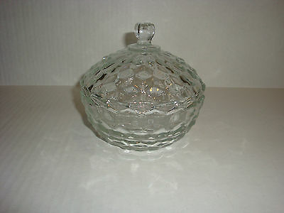 AMERICAN FOSTORIA COVERED CANDY DISH CLEAR GLASS