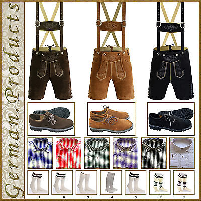 German Bavarian Oktoberfest Mens Short Lederhosen Shirt Shoes Socks Package Set