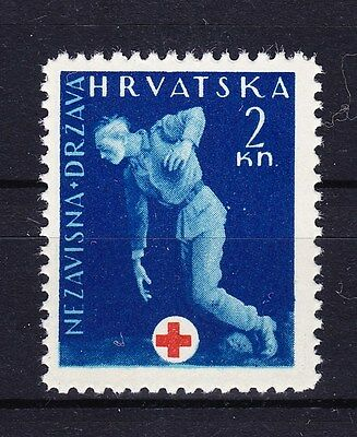 Ww2 Croatia 1943 - Postal Tax Sc# Ra2 Red Cross Mint Never Hinged