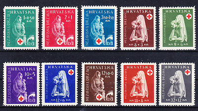 Ww2 Croatia 1943 - Red Cross Complete Set Mint Never Hinged