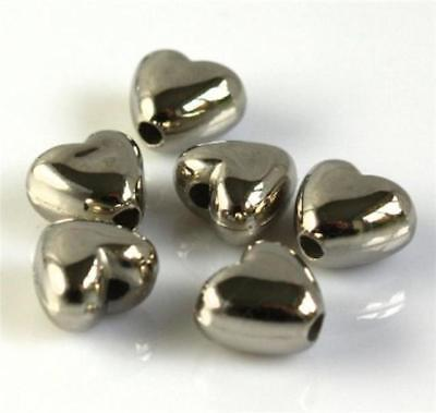 100 SILVER ACRYLIC HEART BEADS 9mm x 10mm TOP QUALITY ACR84