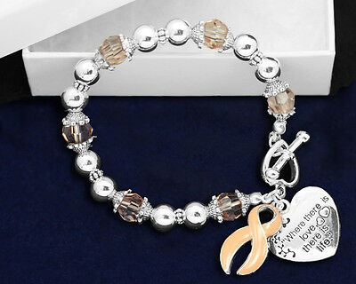 Lot of 10 Where There is Love Peach Ribbon Bracelets