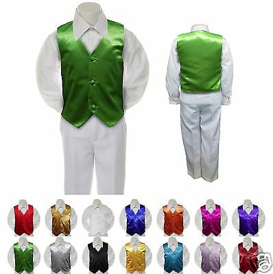 Lime Satin Vest Only  for  Boy Baby Toddler Kid Teen Formal Wedding Party S-20