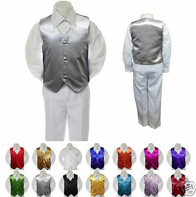 Silver Satin Vest Only for Boy Baby Toddler Kid Teen Formal Wedding Party S-20
