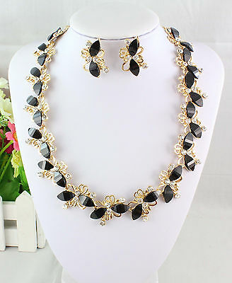 Black Resin Beads Clear Crystal Yellow Gold Plated Necklace Earrings Set