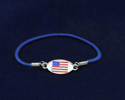 Lot of 15 American Flag Stretch Charm Bracelets
