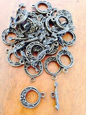 Antique Bronze Toggle Clasps - 20 sets