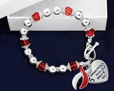 Lot of 10 Where There is Love Red & White Ribbon Bracelets