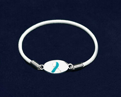 Lot of 15 Teal & White Ribbon Stretch Charm Bracelets