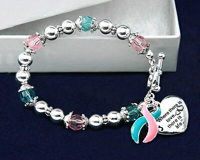Lot of 10 Where There is Love Pink & Teal Ribbon Bracelets