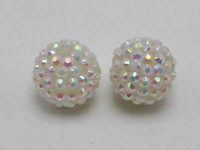 20 White with AB Luster Acrylic Rhinestone Pave DISCO Ball Beads 18mm