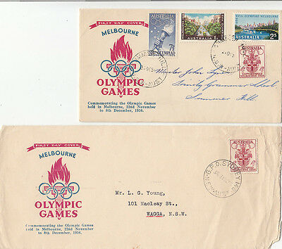 Olympic Games 1956 Melbourne Southern Cross Printers long & short format FDC's