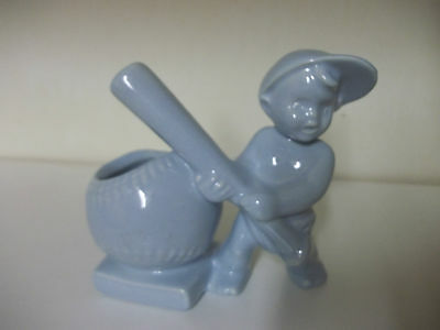 Vintage HAEGER Blue BASEBALL / BASE /WITH CHILD PLANTER / MADE IN U.S.A.