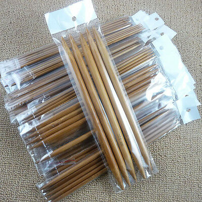 "75pcs 15size 7.9"" 20cm Double Pointed Carbonized Bamboo Knitting Needles"