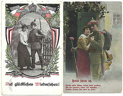 LOT 2 VINTAGE WORLD WAR I GERMAN POSTCARDS COUPLES