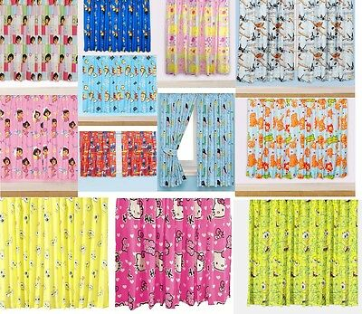 New Childrens Floral Novelty Football Character Curtains Boys Or Girls Pink Blue