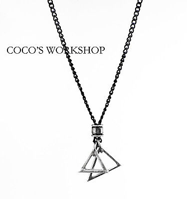 Quality Silver Black Mens Triangle Pendant Necklace Long Chain Punk Goth Gift
