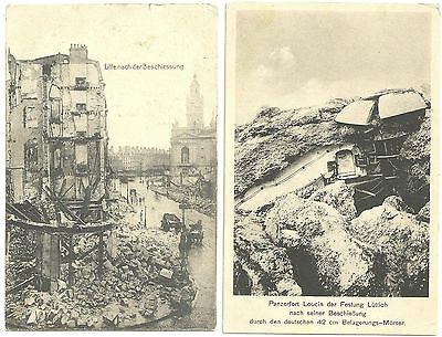 LOT 2 VINTAGE GERMAN WORLD WAR I POSTCARDS LILLE FORT LOUCIN BOMBARDMENT