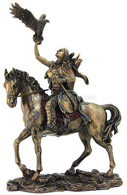 Navajo Indian Warrior on Horse with Eagle Bronze Statue Reproduction