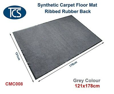 New 121x176cm SYNTHETIC CARPET DOOR/ ENTRANCE/ FLOOR MAT Ribbed Rubber Back Grey