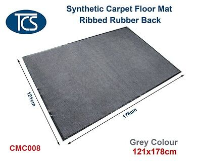 TCS NEW SYNTHETIC CARPET DOOR/ ENTRANCE/ FLOOR MAT Ribbed Rubber Back Grey